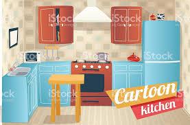 cuisine dessin animé mobilier et des accessoires de cuisine de lappartement intérieur de