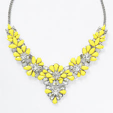 yellow necklace images Jeweled garden necklace silver tone yellow statement bib jpg