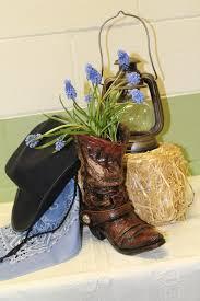 western party arrangement decoration cowboy boot hat lantern western party arrangement decoration cowboy boot hat lantern straw flower