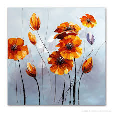 hand painted orange yellow flowers oil painting on canvas modern
