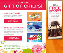 chili gift card chili s buy a 25 gift card get a free dessert for you and