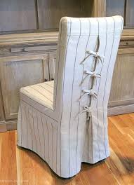 Slipcovered Dining Chair Tie Back And Corseted Slipcovers A Way To Dress Up Plain