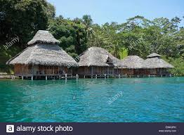 tropical eco resort with thatched bungalows over water of the