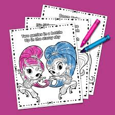 shimmer and shine theme song coloring pack nickelodeon parents