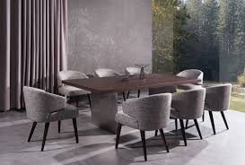 modern brown oak top and stainless steel base dining table fort