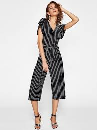 stylish jumpsuits shein pinstripe tie waist jumpsuit jumpsuits from shein
