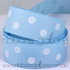 and white polka dot ribbon light blue white polka dot grosgrain 23mm wide per metre