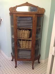 curio cabinet curio cabinete mission oak curved glass front