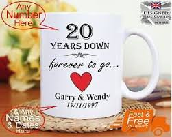 20 year wedding anniversary gifts 20th wedding anniversary gift 20 years marriage any dates names
