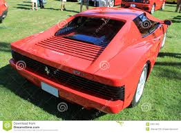 classic ferrari testarossa rear view classic red ferrari 512tr sports car editorial stock