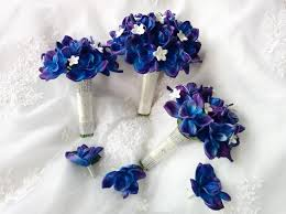 6 pc natural touch blue purple dendrobium orchids silk white