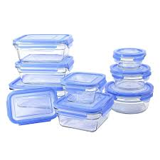 Blue And White Kitchen Canisters Amazon Com Glasslock 18 Piece Oven Safe Assortment Set Blue