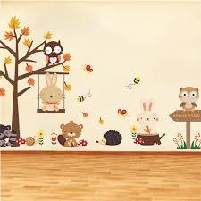 stickers chambre d enfant forêt hibou papillon swing lapin écureuil stickers muraux animaux