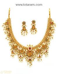women necklace set images 22k gold 39 lakshmi 39 guttapusalu necklace set for women with cz png