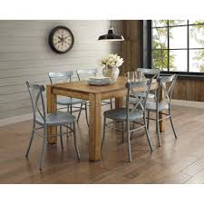 shermag dining room furniture rustic distressed metal crossback galvanized silver dining chair