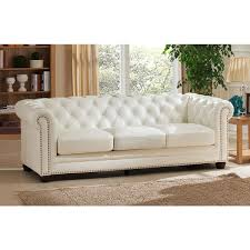 Leather Chesterfield Sofa Bed Nashville White Genuine Leather Chesterfield Sofa With Feather