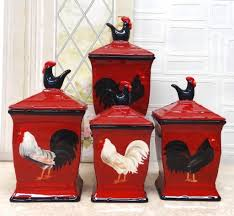 amazon com tuscany roamer rooster hand painted 4pcs red canister