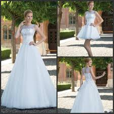 stunning sleeveless wedding dresses sheer jewel neck a line custom
