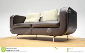 Wooden Couch With Cushions Modern Leather Sofa On Wooden Stock Image Image 35729491