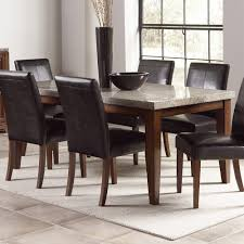 Black Leather Chairs And Dining Table Granite Dining Table Set Homesfeed