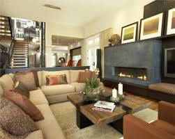 Family Room With Sectional Sofa Modern Family Room Furniture Layout With Beige Sectional Sofa And