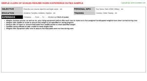 clerk of scales resume sample