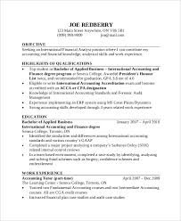 Resume Sample For Accountant Position by 43 Free Accountant Resume Free U0026 Premium Templates