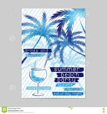 summer beach party template with cocktail and palm trees stock