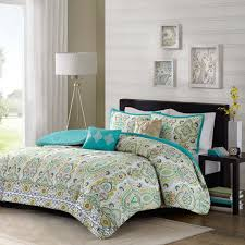 Moroccan Coverlet 5pc Teal Blue Green Yellow Queen Comforter Set Ogee Floral