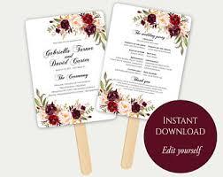Wedding Program Template Fan Fan Program Template Fan Wedding Program Ceremony Program