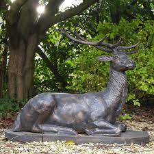 Outdoor Decor Statues Bronze Deer Lying Statues Outdoor Decor Vincentaa Sculpture