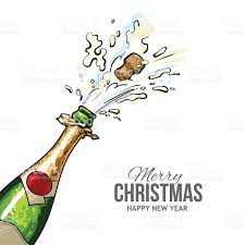 champagne cartoon christmas greeting card with cork popping out of champagne bottle