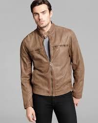 mens black leather motorcycle jacket cole haan vintage leather moto jacket in brown for men lyst