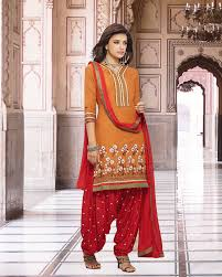 palkhi inc patiala suit in peach and red color combination