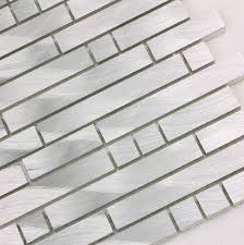 silver brushed metallic mosaics stainless steel tiles aluminum