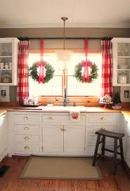 Kitchen Christmas Tree Ideas Gingerbread House On Cake Stand Large Red Plaid Curtains