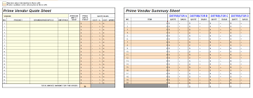 prime vendor quote and summary sheet