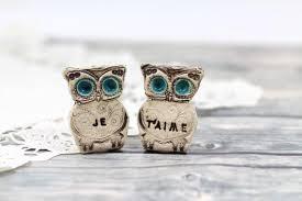 owl wedding cake topper owls wedding cake topper je t aime cake topper ceramics