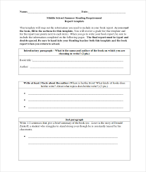free template for book report