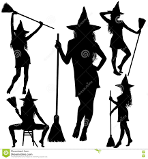 halloween witch with broomstick silhouettes stock vector image