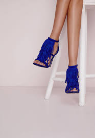 tassel front barely there heeled sandals cobalt blue missguided