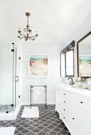 emily henderson modern old world maser bathroom blackandwhite