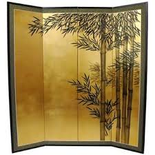 Bamboo Room Divider Oriental Furniture 5 1 2 Ft Tall Gold Leaf Bamboo Room Divider