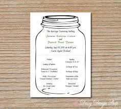 jar wedding programs wedding program jar rustic sided by daisydesignshop