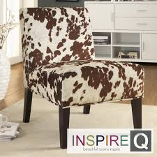 Animal Print Furniture Home Decor by Peterson Cowhide Fabric Slipper Accent Chair By Inspire Q Bold By