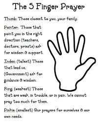 printable 5 finger prayer for children children s ministry ideas