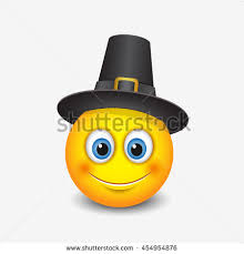 thanksgiving emoticon wearing pilgrim hat emoji smiley
