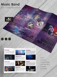 beautiful music band a3 tri fold brochure template free