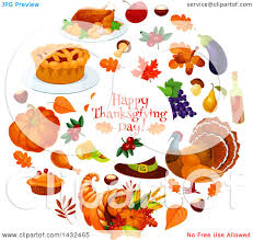 clipart of a happy thanksgiving day greeting in a circle with food