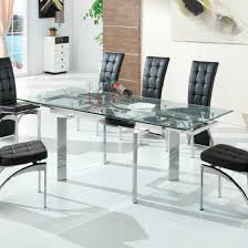 Glass And Chrome Dining Table Maxim Extendable Dining Table In Clear Glass With Chrome